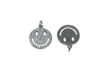 Silver Micro Pave 15mm Smile Charm