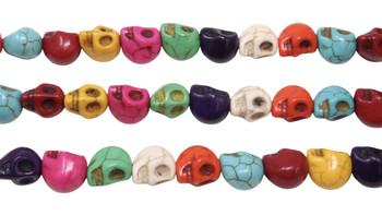 Magnesite Polished Multi Color 10x8mm Skull