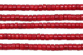 Red Coral Dyed Polished 4x6mm Wheel