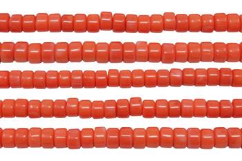 Orange Coral Dyed Polished 4x6mm Wheel