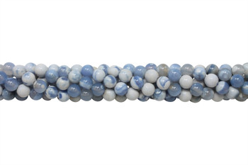 Fire Agate Polished 8mm Round - Blue / White
