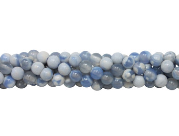 Fire Agate Polished 6mm Round - Blue / White