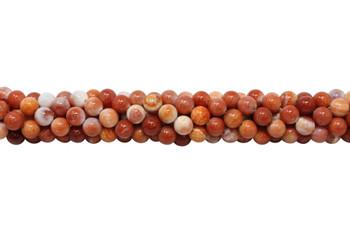 Fire Agate Polished 8mm Round - Orange