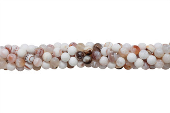 Fire Agate Polished 8mm Round - White / Red