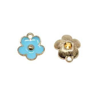 Blue 11mm Enamel Flower Charm