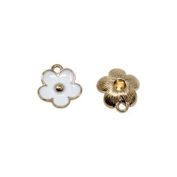 White 11mm Enamel Flower Charm