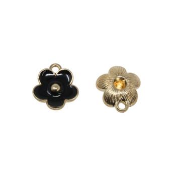 Black 11mm Enamel Flower Charm