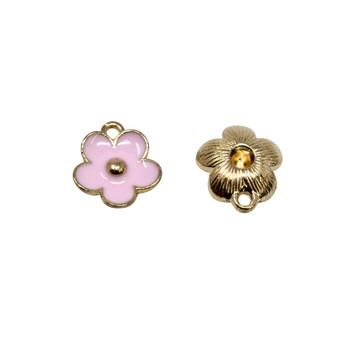 Pink 11mm Enamel Flower Charm