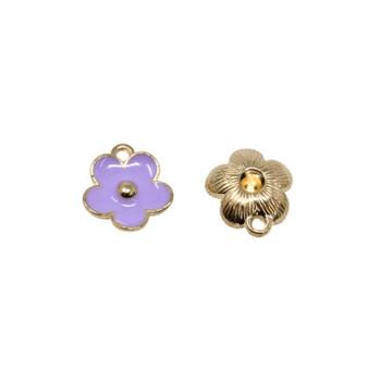 Purple 11mm Enamel Flower Charm