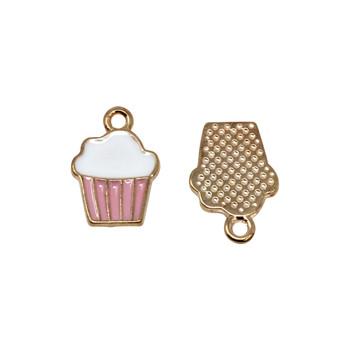 Pink 12x10mm Enamel Cupcake Charm