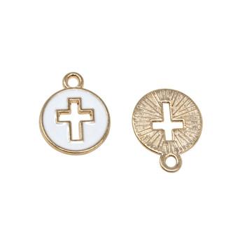 White Enamel Cross Charm
