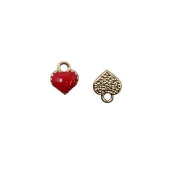 Red Enamel Heart 7mm Charm