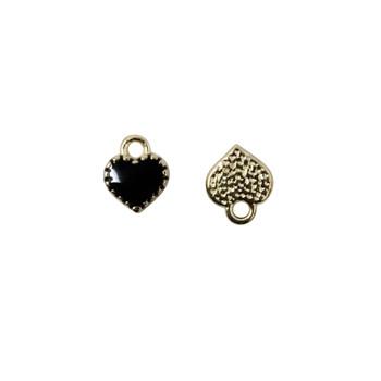 Black Enamel Heart 7mm Charm