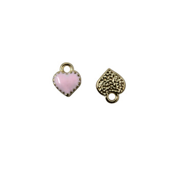 Pink Enamel Heart 7mm Charm