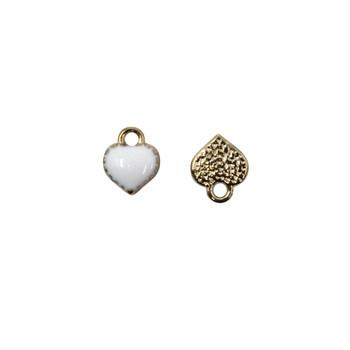 White Enamel Heart 7mm Charm