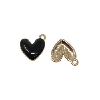 Black Enamel Heart 14mm Charm