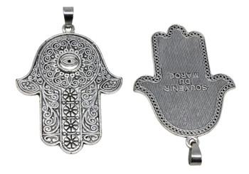 Tibetan Style Antique Silver Hamsa Alloy Pendant