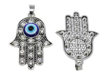 Tibetan Style Antique Silver Lampwork Hamsa Pendant