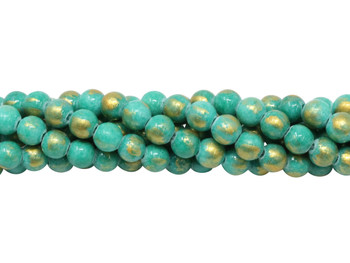 Dyed Jade Gold Foil Polished 6mm Round - Green