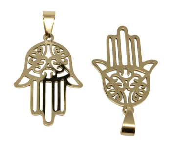 Gold Plated Stainless Steel 30x21mm Hamsa Pendant