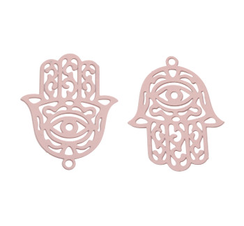 Pink Stainless Steel 23x18mm Hamsa Pendant
