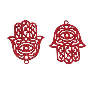 Red Stainless Steel 23x18mm Hamsa Pendant