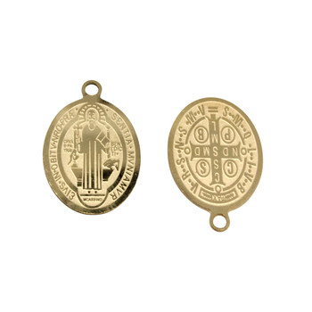 Stainless Steel Gold Plated 17x14mm St. Benedict Medal