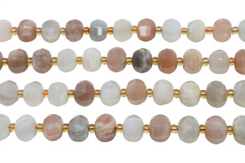Moonstone and Sunstone Mix Polished 6x10mm Faceted Lantern