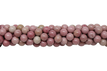 Natural Rhodonite Polished 8mm Round - 2mm Large Hole