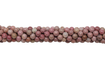 Natural Rhodonite Polished 6mm Round - 2mm Large Hole