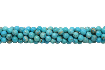 Kingman Turquoise Polished 6mm Round - 8.5 Inch Strand