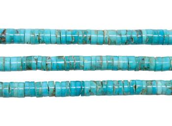 Kingman Turquoise Polished 5-5.5mm Heishi