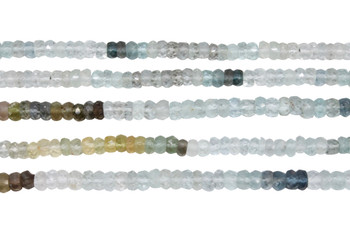 Moss Aquamarine Banded 3-4mm Faceted Rondel
