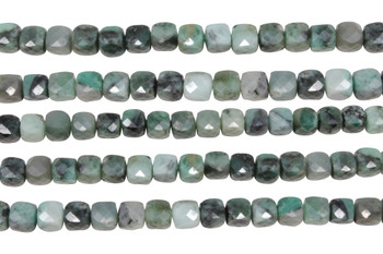 Emerald Polished 6mm Faceted Cube