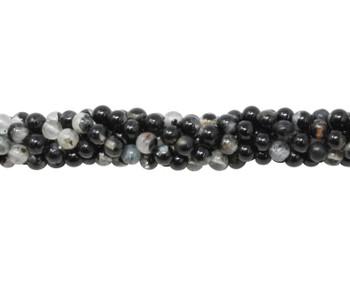 Black Tourmaline in Mica Polished 4mm Round