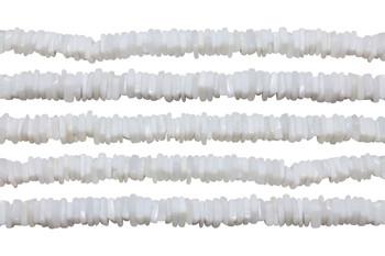 White Opal Polished 3-4mm Square Heishi