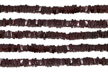 Garnet Polished 3-4mm Square Heishi