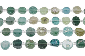 Roman Glass Natural 11-13mm Coins - With Pendant