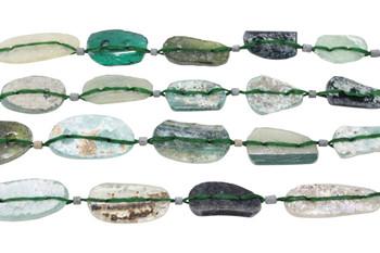 Roman Glass Natural 16x10 / 15-24mm Blue Green Oval