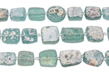 Roman Glass Natural 12-17mm Rectangle, Coin, Square