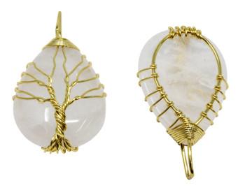 Crystal Quartz Tree of Life Gold Plated Pendant