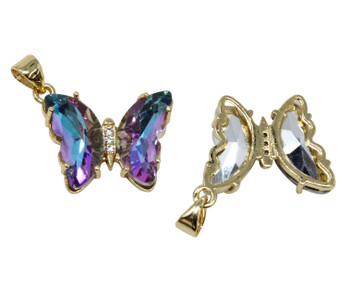 Gold Micro Pave Purple Butterfly Link Charm