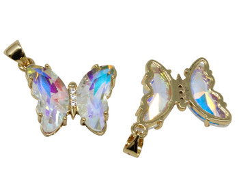 Gold Micro Pave Rainbow Butterfly Link Charm
