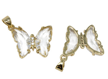 Gold Micro Pave Crystal Butterfly Link Charm