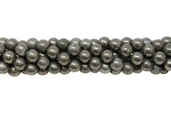 Pyrite A Grade Polished 8mm Round - 2mm Large Hole
