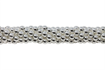 Sterling Silver Plated Hematite Polished 6mm Round - 2mm Large Hole