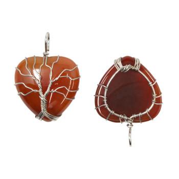 Carnelian Silver Plated Tree of Life Pendant
