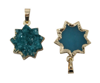 Druze Agate 20mm Dyed Star Pendant