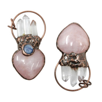 Crystal and Rose Quartz Prism Antique Copper Plated Brass Pendant