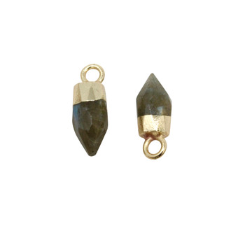 Labradorite Polished 10x5mm Faceted Bullet Charm